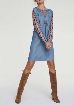 Denim dress with embroidery, light blue