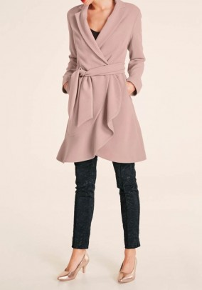 Coat with flounces, rose