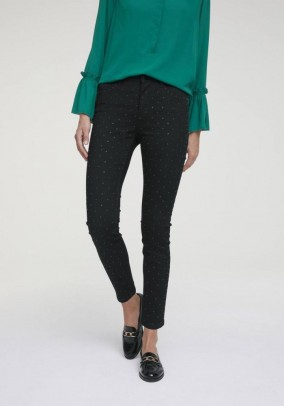 Bodyforming jeans with strass, black