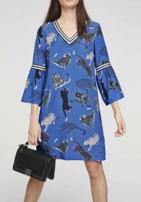 Print dress with flounces, blue-multicolour