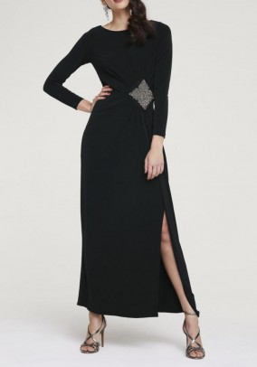Evening gown with bead embroidery, black