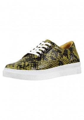 Leather sneaker, yellow-black