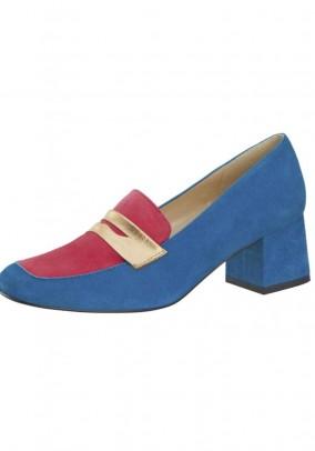 Velour pumps, blue-pink