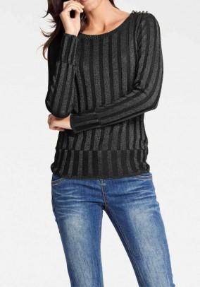 Rib knit sweater, black