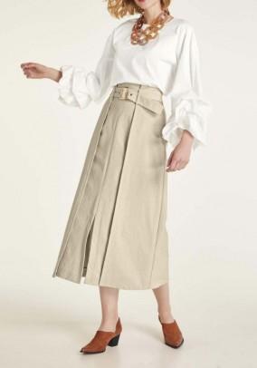 Ilgas smėlinis sijonas su diržu
