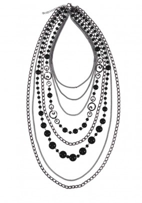 Necklace with beads, black