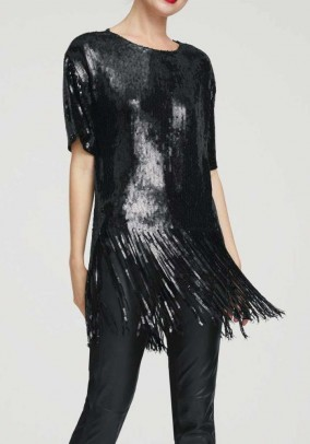 Sequin shirt with fringes, black