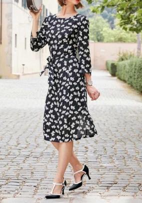 Print dress, black-offwhite