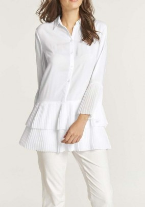 Blouse with flounces, white