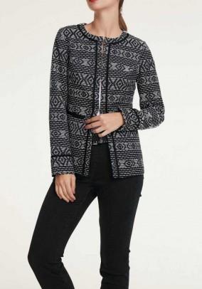 Jacquard jacket, black-offwhite