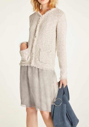 Cardigan with fringes, beige