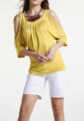 Jersey shirt with cut-outs, yellow