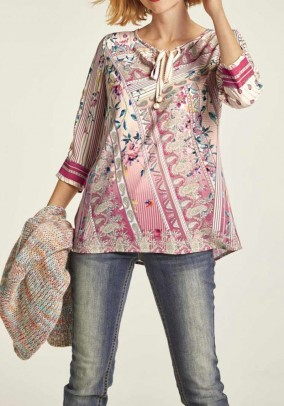 Printed blouse with beads, multicolour