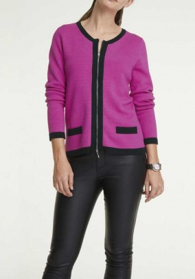 Fine knit cardigan with zipper, pink-black