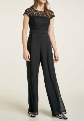 Chiffon jumpsuit with lace, black
