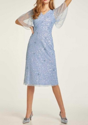 Cocktail dress with sequins, light blue