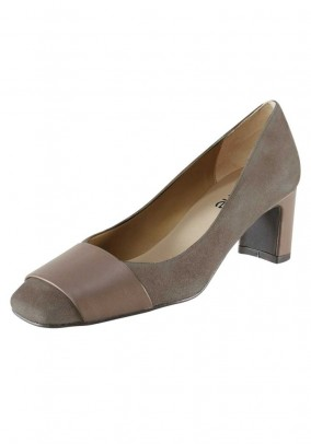 Velours nappa leather pumps, taupe