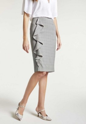 Body-forming skirt with flounces, grey-rose