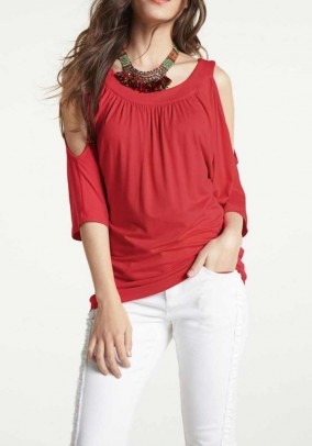 Jersey shirt with cut-outs, red