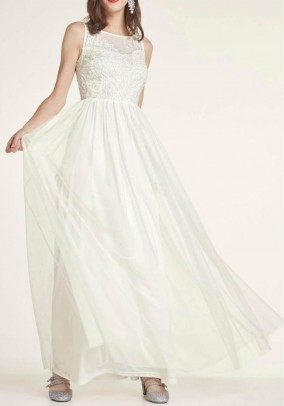 Wedding gown with sequins, offwhite