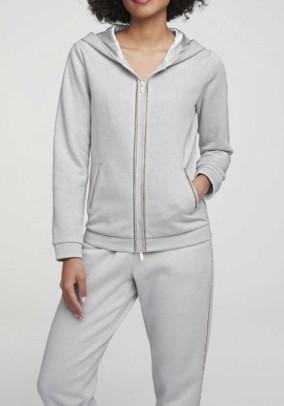 Sweat jacket with strass, grey