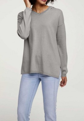 Hooded sweater with cashmere, grey