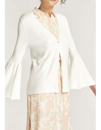 Baltas megztinis plačiomis rankovėmis