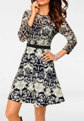 Lace jersey dress, navy-cream