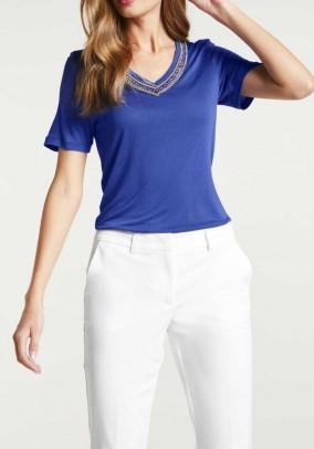 Mėlyni dekoruoti marškinėliai