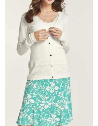 Baltas megztinio ir palaidinės komplektas