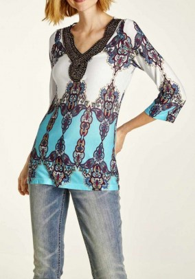 Shirt wth bead embroidery, multicolour