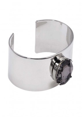 Bangle with strass, silver coloured