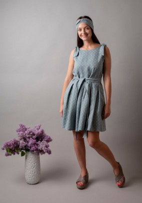Dotty pleated linen dress