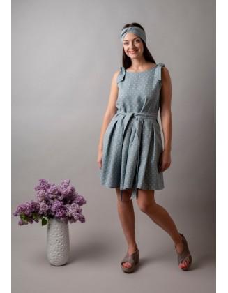Taškuota klostuota lininė suknelė