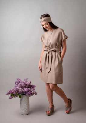 Sand linen dress