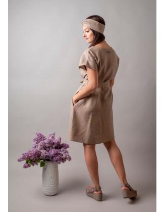 Smėlinė lininė suknelė