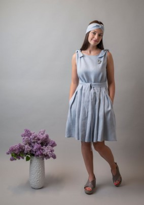 Blue pleated linen dress