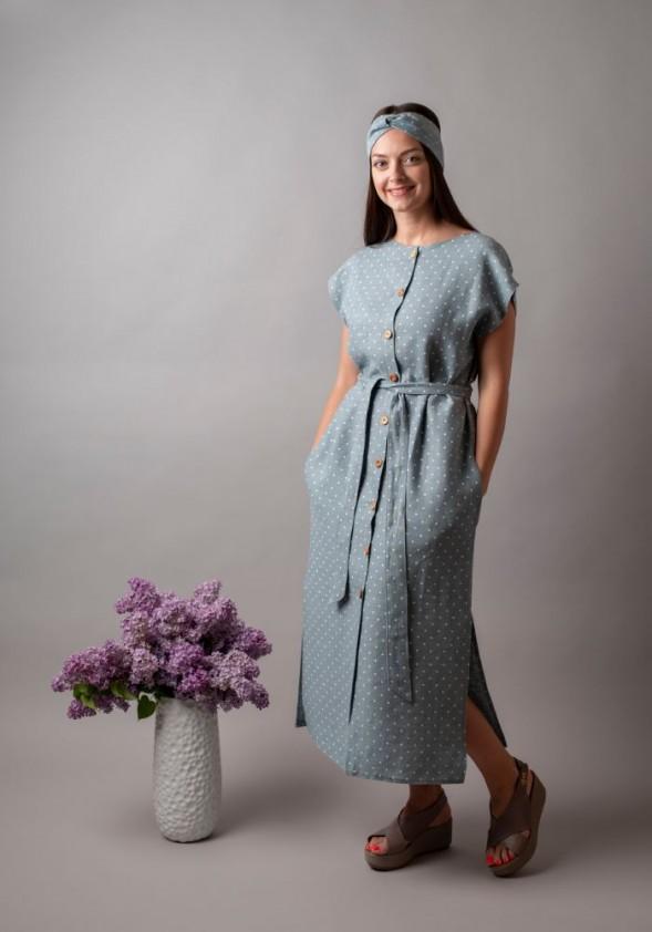 Taškuota lininė midi suknelė