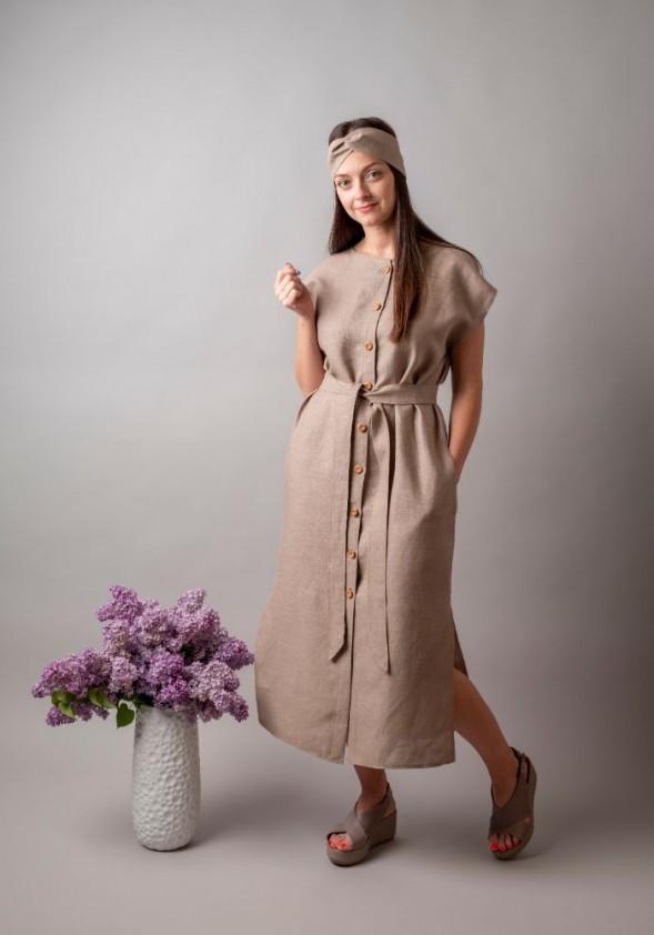 Smėlinė lininė midi suknelė