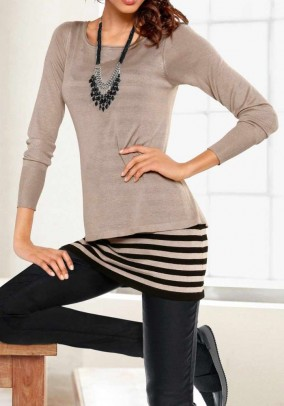 Two in one sweater, sand-black
