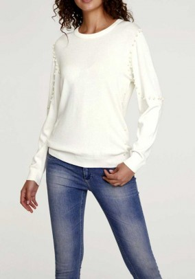 Fine knit sweater with beads, offwhite