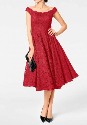 Dress with petticoat, red