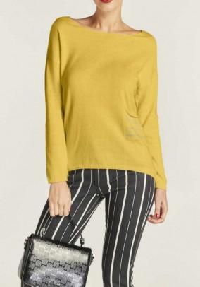 Fine knit sweater, lemon yellow