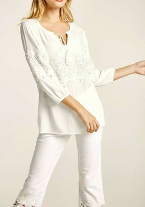 Lace blouse, offwhite