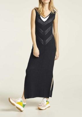 Knit jersey dress, black-white