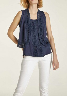 Lace top and vest, navy