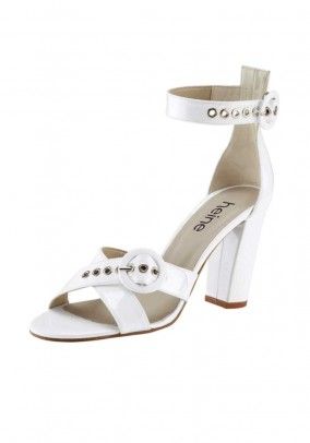 Patent leather sandal, white