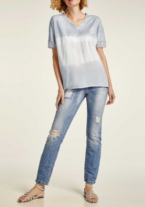 Shirt with sequins, light grey - offwhite