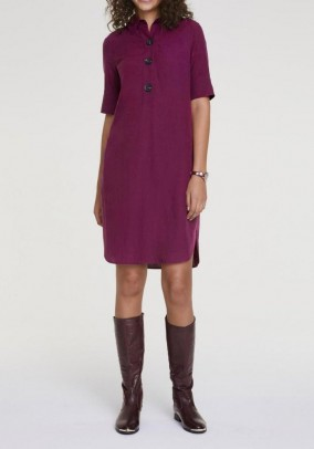 Dress with linen, fuchsia