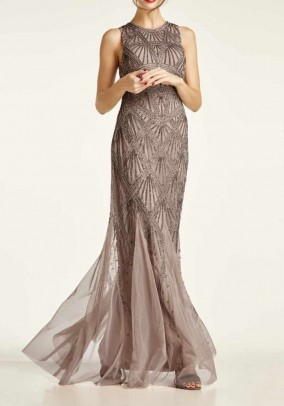Evening gown with beads, taupe